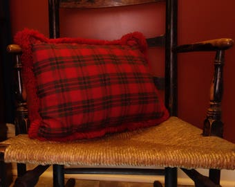 Rustic Country Handmade Red and Green Plaid Homespun Pillow with Fringe Trim, Primitive Lake Cabin Lodge Style, Country Christmas Pillow