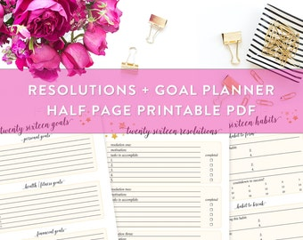 Resolutions and Goal Planner, New Year's Resolutions Kit Printable, 2016 Resolutions, Breaking a Habit, Health Goals, Twenty Sixteen Goals