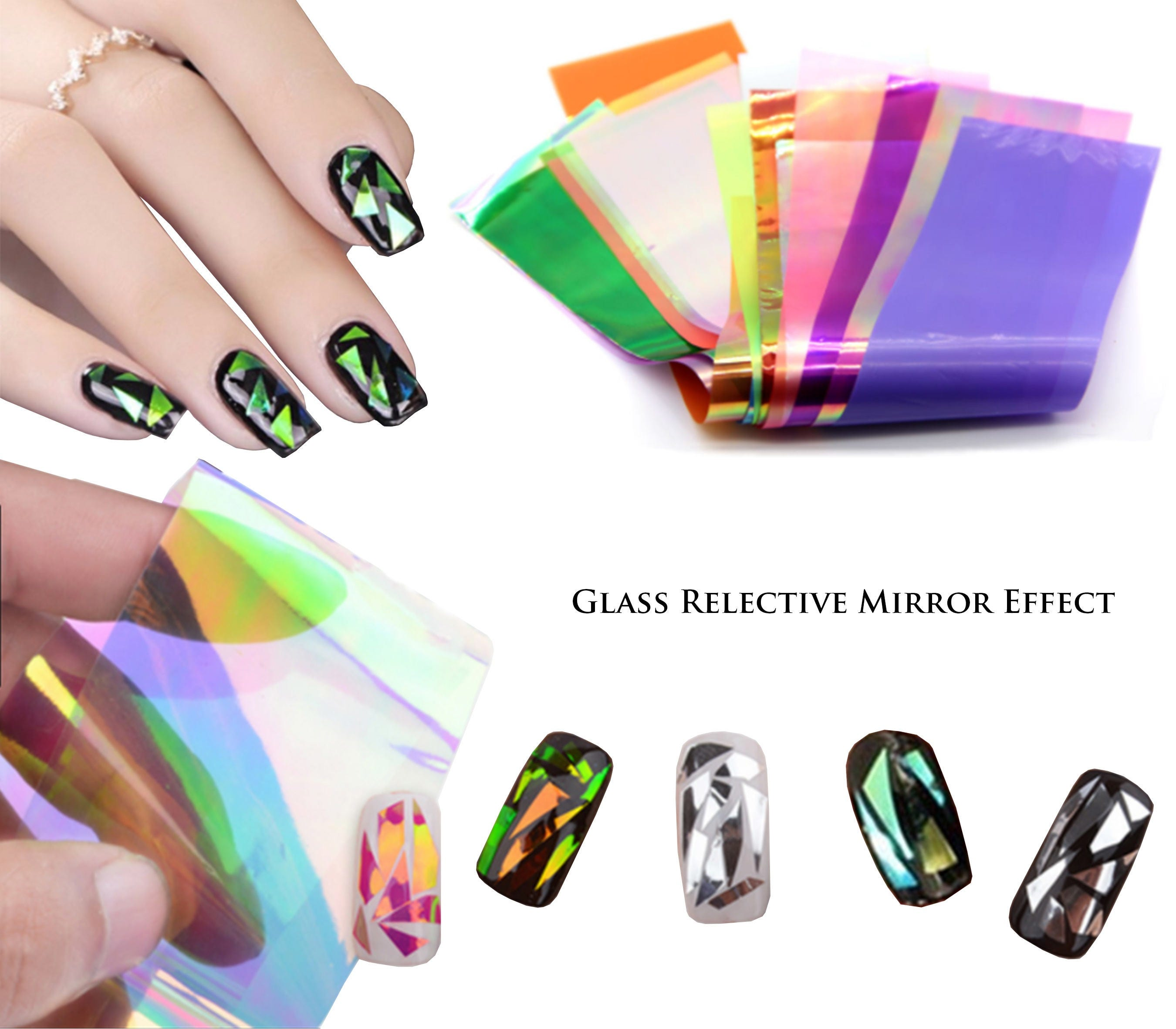 24pcs Mixed Color Nail Art Holographic Shattered Broken-Glass ...