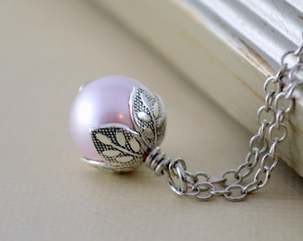 Blush Pink Necklace, Swarovski Pearl Jewelry, Antique Silver-Plated, Woodland Wedding