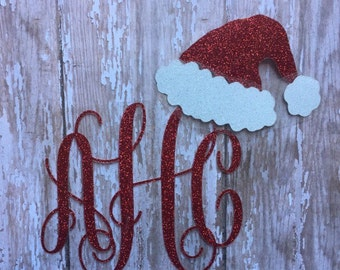 Santa Hat Monogram Iron on Decal/ Christmas Monogram/ Glitter or Non-glitter Monogram/ Christmas Iron on/ DIY Christmas Shirt/ DIY Gifts