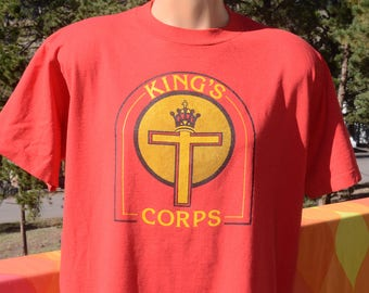 80s vintage tee KING'S CORPS cross crown t-shirt XL Large