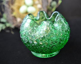 Green Glass Rose Bowl, Vintage Vase, , green vase, Flower vase, bud vase, #1924