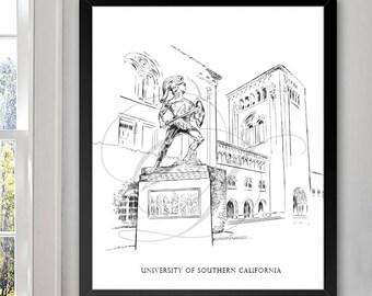 University of Southern California, USC Art Print Hand Drawn, Trojans, University, State College ( Sizes  5 x 7, 8 x 10, 13 x 19, 16 x 20)