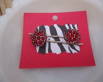 Deep Red Bobby Pin Set