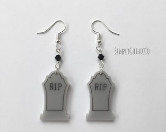 Gothic Grey RIP Tombstone Earrings