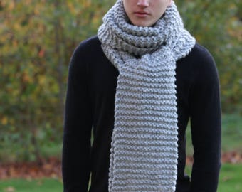 Oversized Chunky Scarf, Long Scarf, Winter Scarf, Women's Knitted Scarf, Men's Knitted Chunky Scarf, Gray