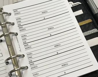 A6 Contacts | Addresses Planner Inserts