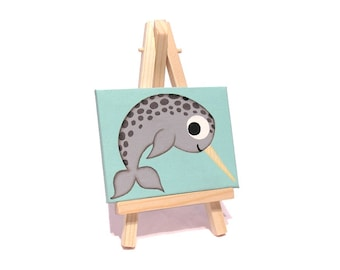 Mini Narwhal Painting - original acrylic art of a cute toothed whale, cartoon underwater animal artwork on a miniature canvas with easel
