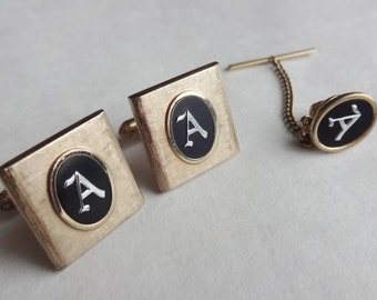 Swank Letter A Cuff Links and Tie Tack