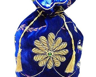 Beadsnfashion Indian Silk Velvet Clutch Potli Handbag For Parties Evening Wear Blue, Size 10 Inch