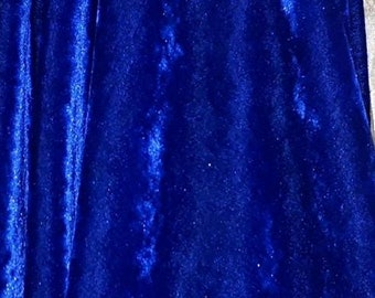 Blue Silky Stretch Velvet Fabric, Velvet Fabric by the Yard, Limited edition fabric