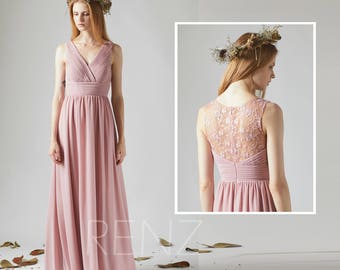 Bridesmaid Dress Dusty Rose Chiffon Dress Wedding Dress,V Neck Maxi Dress,Lace Illusion Back Party Dress,Sleeveless Long Evening Dress(T183)