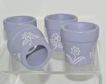 Vintage Hand Painted Flower Pot Napkin Rings Holders Lavender Purple