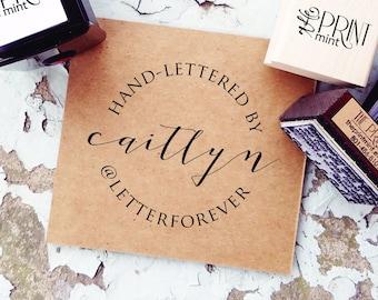 Handmade By Rubber Stamp, Custom Calligraphy Stamp, Hand Made by Stamp, Hand Lettered By Label, Instagram Stamp, Paper Embosser CS-10310