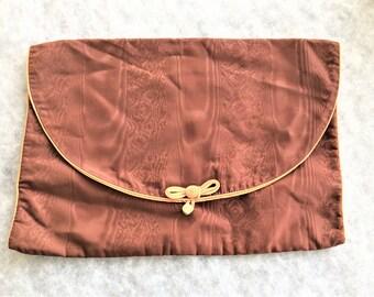 50s 60s Vintage Moire Satin Brownish Purple Lingerie Bag