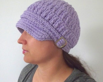 Womens Newsboy Hat Lavender Newsboy Cap Light Purple Newsboy Womens Hat Womens Cap Lavender Hat Lavender Cap Crochet Newsboy Knit Buckle