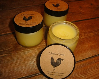 Organic Chicken Salve made with organic herbs, tea tree essential oil, echinacea and goldenseal extract plus vitamin e heals skin tissue