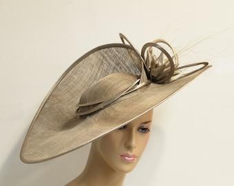 Taupe Sinamay lady dressy hat-fascinator,English Royal Hat,Kentucky Derby Hat, Wedding Hat, Church Hat, Formal Hat, Dressy Hat, Church Hat