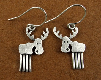 Tiny moose earrings