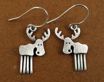 Tiny moose earrings
