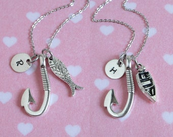 Fish Hook Necklace, Fish Necklace, Boat Necklace, Fishing Gift, Personalized Initial Charm, Daddy's Girl, Fishmen's Wife