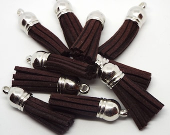 Small Chocolate Brown Suede Tassel Charm 38mm Pack of 5