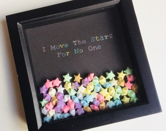 I Move The Stars For No One | Labyrinth | David Bowie | Wish | Lucky | Stars | Lucky Stars | Origami | Star | Box Frame | Cute | Gift | Home