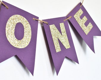 Purple and Gold, High Chair Banner, Birthday Party Decor, Photo Prop