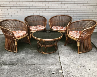 Rattan Chairs   Rattan Coffee Table   Vintage   Barrel Style Chairs    Cushions Included