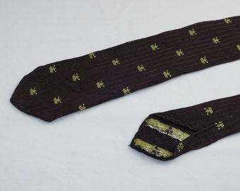 Vintage Kevins Cravat Men's Skinny Tie, Brown with Gold Crowns