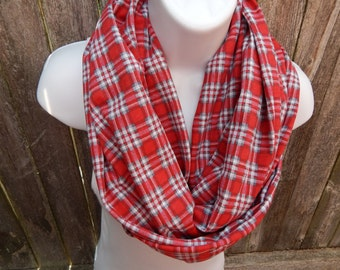 Red and White Plaid Infinity Scarf