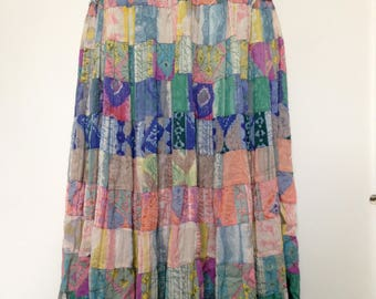 Refashioned American Eagle Denim with Full Length Colorful Festival Skirt
