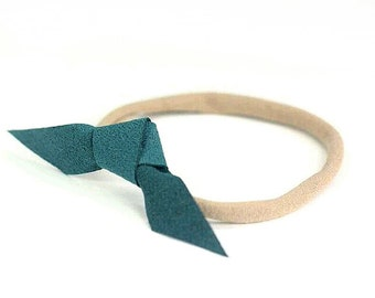 Suede Headband, Tie Headband, Teal Headband, Teal Tie Band, Leather Knot, Knotted Tie, Knotted Headband, Simple Headband, Mini Bow, Small