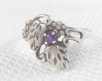 Vintage Sterling Silver Carolyn Pollack Carlisle Amethyst Grape Leaves Ring CP Grape Leaves Ring Sterling Amethyst Ring Carolyn Pollack Ring