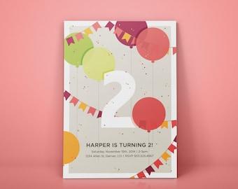 Birthday Balloon Party Invitation