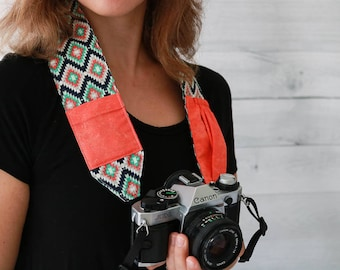 Camera Strap for DSLR and SLR Cameras | Kilim Print Camera Strap with Coral Lens Cap Pockets