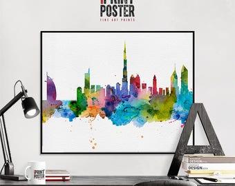 Dubai art print, Dubai poster, Dubai wall art, Dubai skyline watercolour print, travel poster, home decor, gift, iPrintPoster