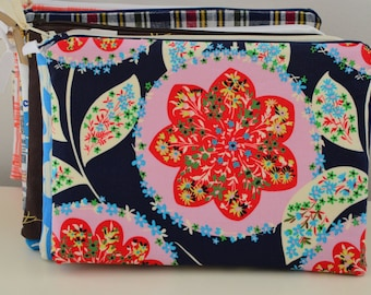 Zipper Pouch in Night Garden - cosmetic bag travel case diaper bag organizer medium navy pink flowers ipad mini kindle toiletry gift set