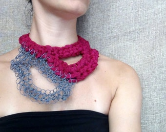 Collar necklace, paper yarn, silk jewelry, free form crochet, crochet necklace, yarn jewelry, boho accessory