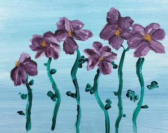 Whimsy Garden: Acrylic on canvas floral art.