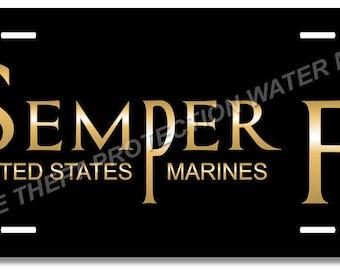 "United States Marine Corps USMC Semper Fi Vanity License Plate Tag 6""x12"" Mom Dad Gift"