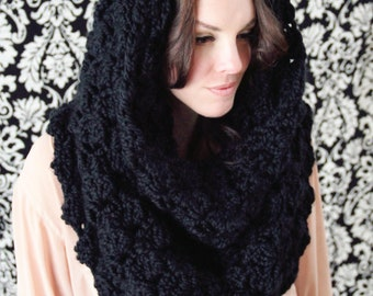 Easy CROCHET PATTERN Hooded Cowl Convertible Wrap Over sized The MANHATTAN