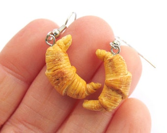 Croissant Earrings, French Pastry Earrings, Food Jewelry, Miniature Food