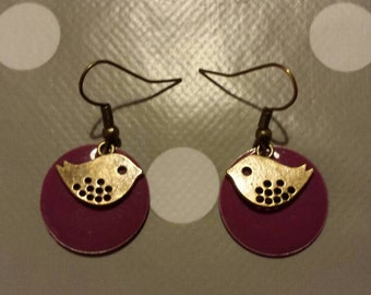 Purple bird earrings