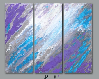 Abstract art, Canvas print set, 3 pc wall art, Extra Large triptych, Purple grey blue bedroom decor, Ready to hang picture