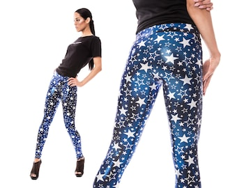 Starry Leggings in Blue, Stars, Burning Man Leggings, Metallic Leggings, Dancewear, Aerial Silks, Costume Leggings, EDM Wear, by LENA QUIST