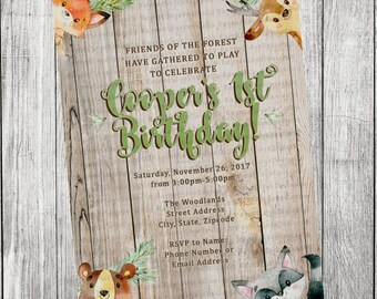 Watercolor Woodland, Rustic Invitation