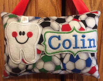 Soccer personalized tooth fairy pillow