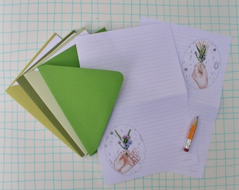 Tiny posie bouquet Stationery Paper Set, illustrated watercolor